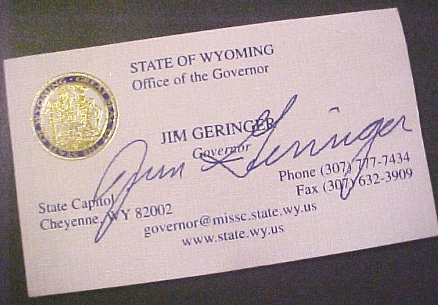 CLICK HERE TO SEE A CLOSE UP of the Wyoming Business Card