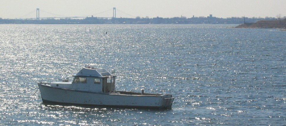 Boat and Whitestone Bridge